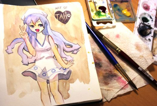 Squid Girl Watercolor by taho