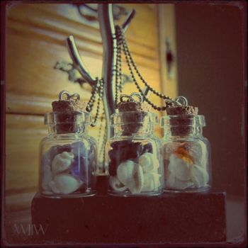 WOLF CRAFT Sea Shells and Stones Bottle Necklaces by wickedland