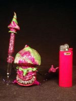 Pink Mushroom Man Holder and Mushroom Dabber Set B by Undead-Art