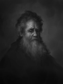 Rembrandt - bearded old man Study by Surfsideaaron