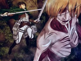 Levi Heichou vs Female Titan by barbypornea