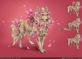 Cherry Blossom Wolf Design by UglyDucklingArt