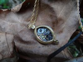 Steampunk gear necklace by Hiddendemon-666