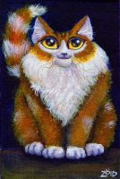 Funny cat fat painting by KingZoidLord