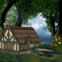 Little Cottage in the Big Woods by oldhippieart