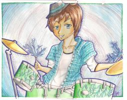 Watercolor: Manga Drummer Dylone {PokemonJon100} by Sashasky98
