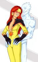Firestar and Iceman steamy by Mythical-Mommy