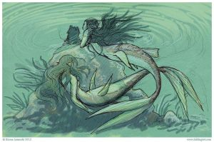 Sketchbook - cardstock mermaids by emla