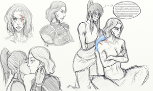 Legend of Korra/Linorra Sketchdump by Chilly-chan