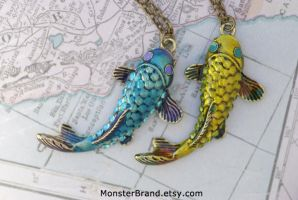 Koi Fish Necklaces by foowahu-etsy