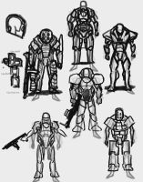 Heavy Powered Armour Designs by jackellice
