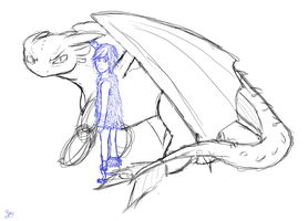 Toothless and Hiccup WIP by rathenal