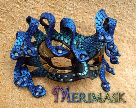 Blue and Aqua Medusa Mask by merimask