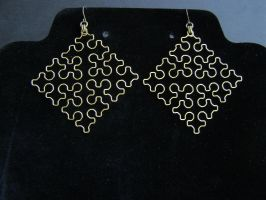 Sierpinski Cross Earrings, Raw Brass by shaunnaf