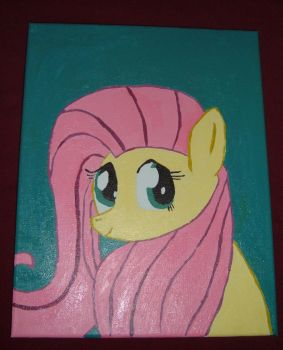 Carefree Fluttershy On Canvas by Rin00008