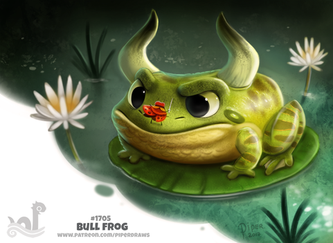 Daily Painting 1705# Bull Frog by Cryptid-Creations
