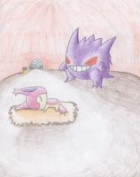 Gengar Haunts Sleeping Skitty by PokreatiaForms