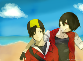 Red and Gold at summer beach by sky04