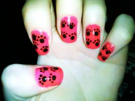 Pawprint Nail Art by Chelseapoops