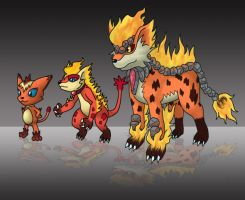 Fakemon - Fire Starter Line by noahflash14