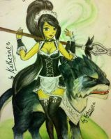 LEAGUE OF LEGENDS-French maid Nidalee by Catalina97