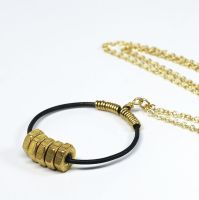 Brass Geometric Necklace- Circle Hardware Jewelry by Tanith-Rohe