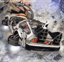 A Flying De Lorean from Back to the Future II by otherdruid