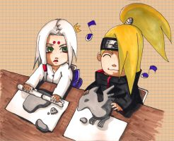 Chibi Kimimaro and Deidara by lunar-neko