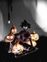 sora - in the shadows kingdom hearts  -halloween by zelldinchit