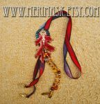 Silk and Leather Oak Leaf Lariat #1 by merimask