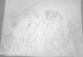 WIP ::: Manly Monsterous Half-Orc Showdown! by CrypticGrin