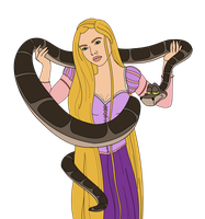 WIP - Request Kaa and Rapunzel by FalseDisposition