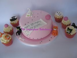 Kitty Cat Cake and Cupcakes by SugarplumB