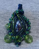 Green Wire Wrapped Pendant by cakhost