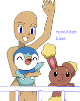 girl with Piplup and Buneary base by Lunarcentric