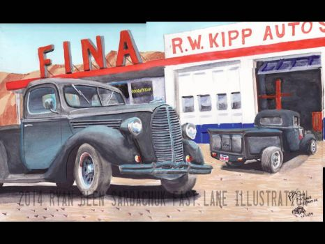Ford Truck Hotrods At FINA Gas by FastLaneIllustration
