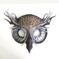 Grey Ghost Owl Leather Mask 1 by teonova