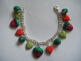 Apple strawberry heart bracele by MadeByJanine