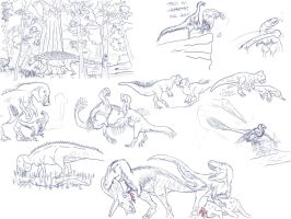 Hell Creek sketches by Tomozaurus