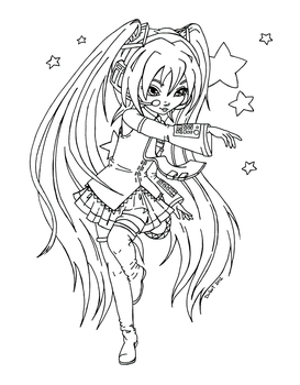 Miku from Vocaloid - Lineart by JadeDragonne