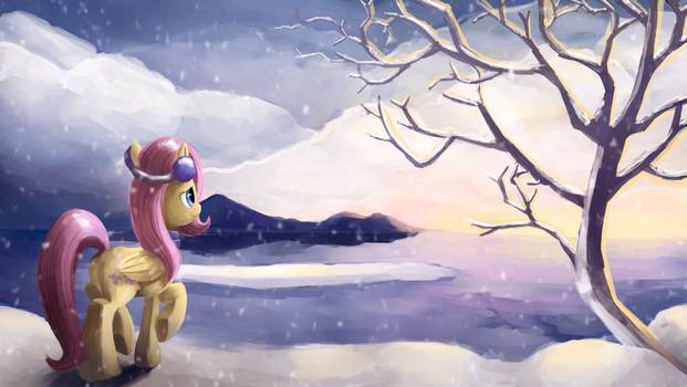 Fluttershy and a sunset by Camyllea