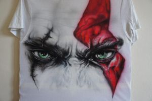 Kratos - Font side of T-shirt by LukeSobczakAirbrush