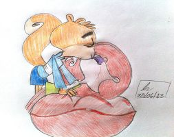 ScaredyxSue Squirrel Finn and Rachel Kiss by goingunder9