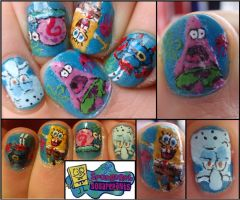 spongebob nails by Ninails