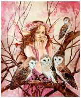 Forest Goddess - Owls by Hollow-Moon-Art