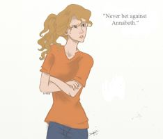 Never bet against Annabeth (colored) by Karen-Vga