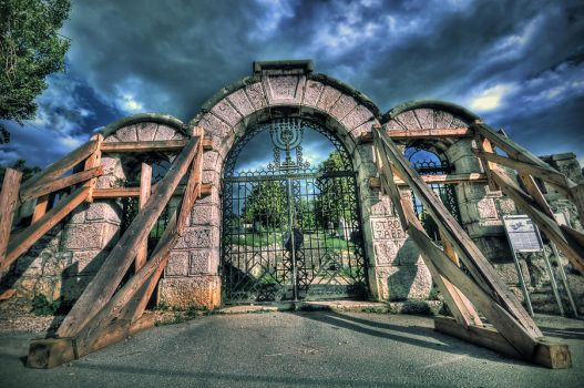 Cemetery Gate -2- HDR by villewilson