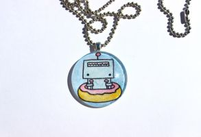 Hand Drawn Robot Flying a Doughnut Pendant by PinkChocolate14
