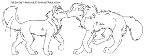 Wolf Kiss LineArt by Firewolf-Anime