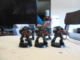 First Miniature Paintings ~ Dark Angels Front by Leimary